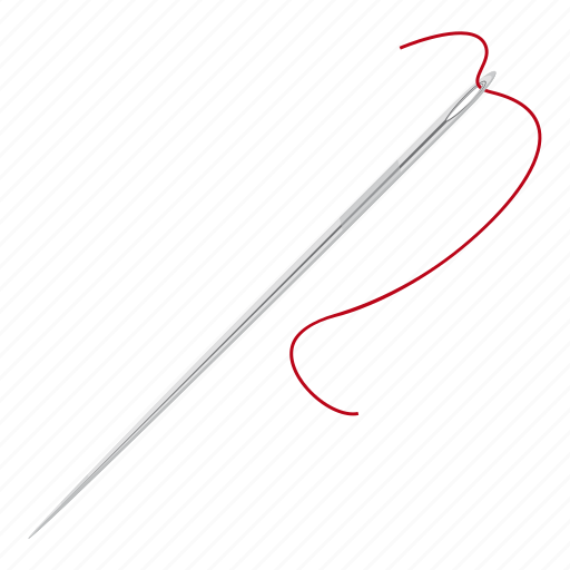 cartoon, household, needle with thread, pin, sharp, tailor, tool icon