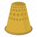 cartoon, household, needle, repair, tailor, thimble, tool icon