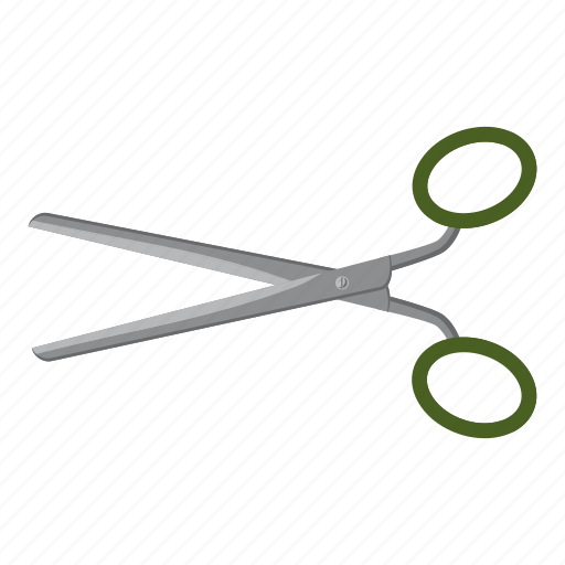 cartoon, cut, handle, logo, scissors, steel, tool icon