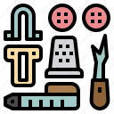 accessories, buttons, hook, sewing, tape, tools icon