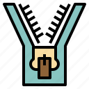 device, fabric, fasten, sewing, tools, zipper icon