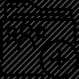 add, folder, outline, shared icon