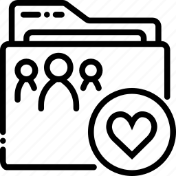 folder, like, outline, shared icon