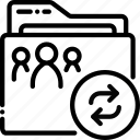 folder, outline, syncronise