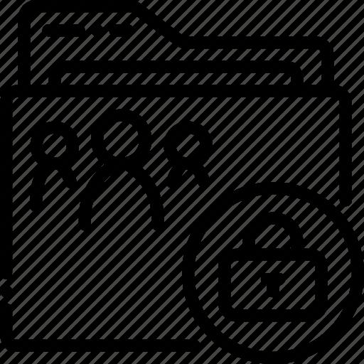 folder, locked, outline, shared icon