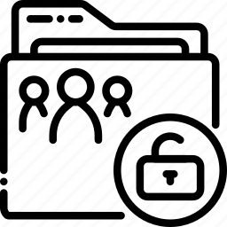 folder, outline, shared, unlocked icon