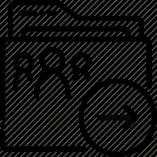 folder, next, outline, shared icon