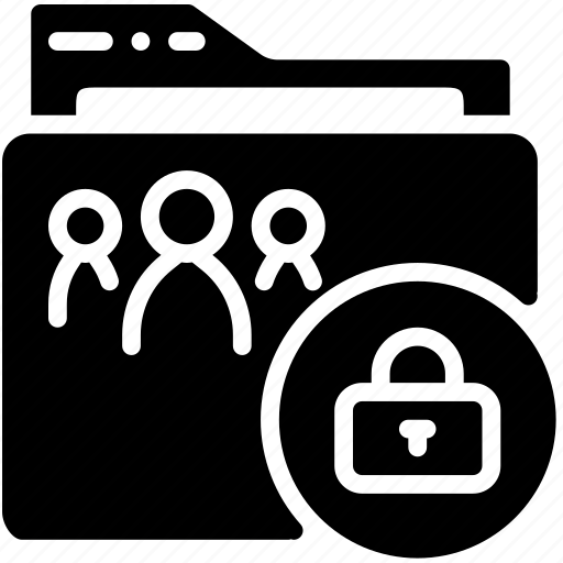 folder, lock, shared, solid icon