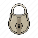 closed, iron, key, lock, metal icon icon
