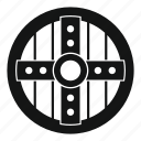 brave, danger, defense, hilt, iron, royal, shield icon
