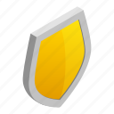 emblem, isometric, protection, security, shield, silver, yellow icon
