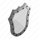 emblem, isometric, knight, medieval, security, shield, silver icon
