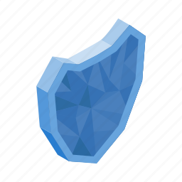 blue, diamond, glass, isometric, protection, security, shield icon