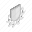 branch, emblem, isometric, laurel, royal, security, shield icon