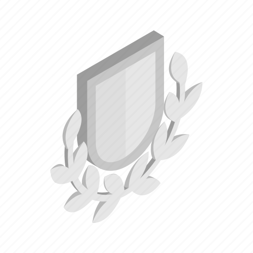 branch, emblem, isometric, laurel, royal, security, shield icon