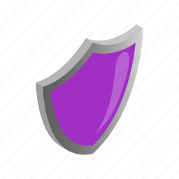 emblem, isometric, protection, safety, security, shield, violet icon