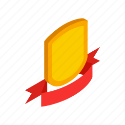 emblem, isometric, protection, red, ribbon, security, shield icon