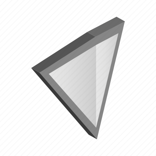 emblem, isometric, protection, security, shield, silver, triangle icon