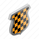 emblem, isometric, security, shield, silver, square, yellow icon