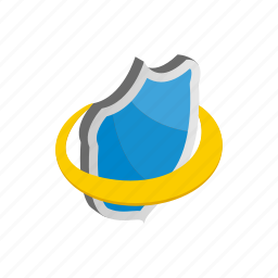 blue, emblem, isometric, protection, security, shield, yellow icon