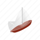 boat, isometric, mast, sail, sails, wood, wooden icon