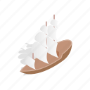 boat, isometric, mast, sailing, sails, wood, wooden icon