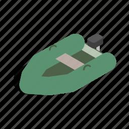 boat, inflatable, isometric, nautical, sea, ship, travel icon