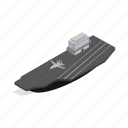 airplanes, isometric, landing, sea, ship, shipping, strip icon