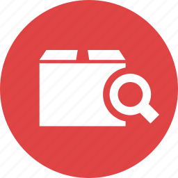 box, find, magnifier, package, search, shipping icon