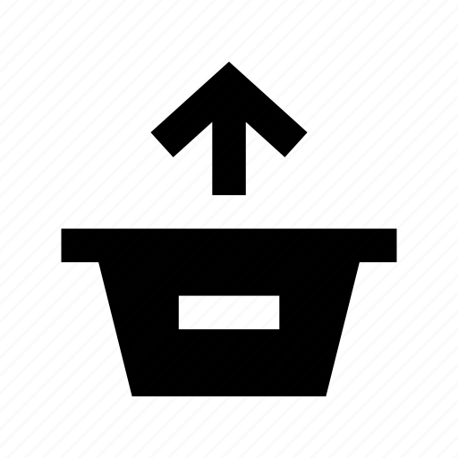 basket, online store, remove arrow, remove to basket, shopping basket icon