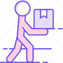 box, delivery, man, receive icon