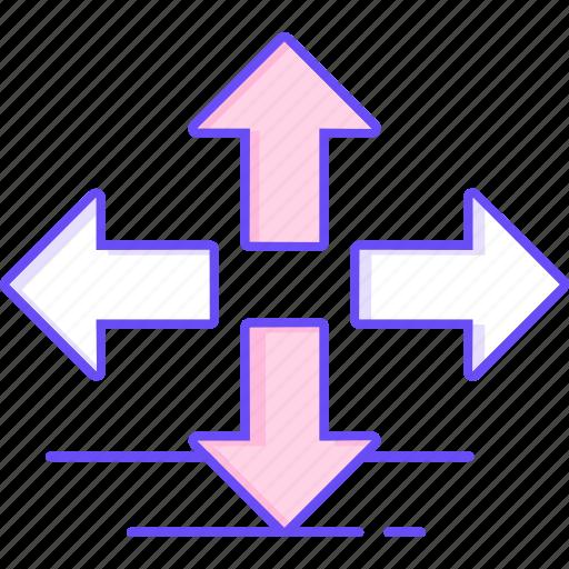 arrows, direction, navigation, way icon