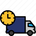 colour, day, delivery, next, shipping, truck icon