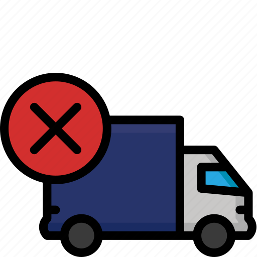 colour, delivery, failed, lorry, shipping, truck icon