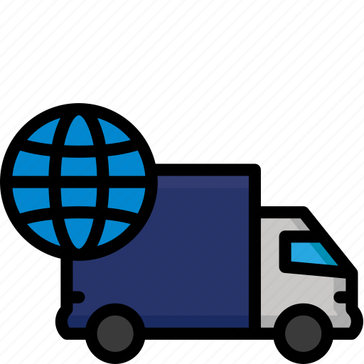 colour, delivery, global, lorry, shipping, truck icon