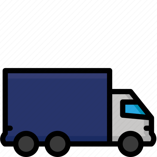 colour, delivery, goods, heavy, shipping, truck icon