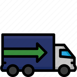 colour, delivery, goods, heavy, quick, shipping, truck icon
