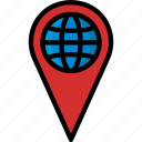 colour, delivery, global, location, map, pin, shipping icon