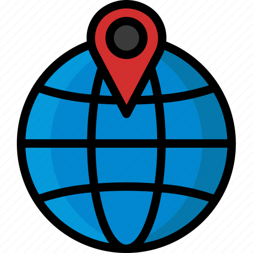 colour, delivery, global, map, pin, shipping, track icon