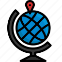 colour, delivery, global, globe, location, map, shipping icon