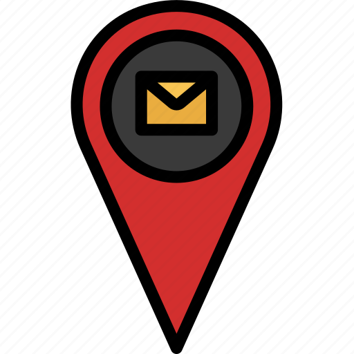 colour, delivery, mail, map, pin, shipping, track icon