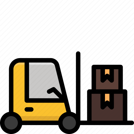 boxes, colour, delivery, forklift, loading, shipping icon