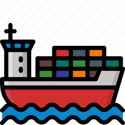 boat, cargo, colour, delivery, ship, shipping icon