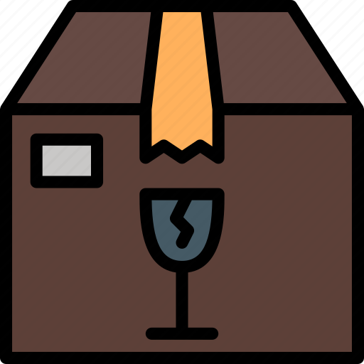 box, colour, delivery, fragile, package, parcel, shipping icon