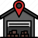 boxes, delivery, depo, location, packages, shipping, warehouse icon