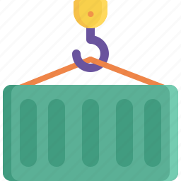 cargo, container, crane, delivery, logistics, shipping, storage icon
