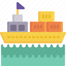 delivery, freight, logistics, sea, ship, shipping, water icon