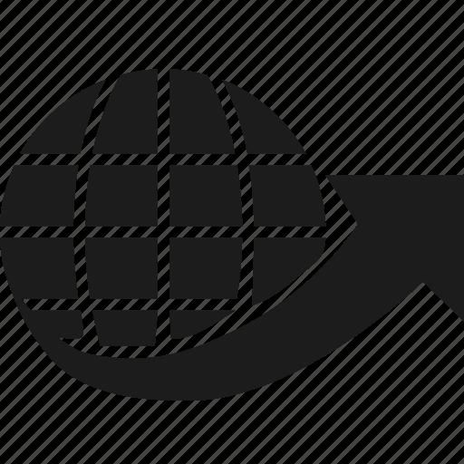 arrow, globe, network, world icon