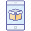 mobile booking, mobile package, mobile parcel, order booking, parcel tracking icon