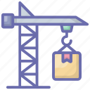 cardboard lifting, cargo hanging, package hanging, packets lifting, parcel hanging icon